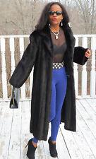Mint Designer Full length Sable Black Brown Mink Fur Coat Jacket  M- L 8-12/14