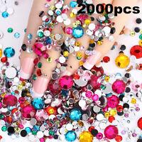 2000pcs 3D Acrylic Crystal Rhinestones Gems Glitter Nail Art Tip DIY Decoration