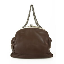 Lanvin Brown Leather Kiss Lock Framed Top Clutch Chain Pouch Bag Handbag Purse
