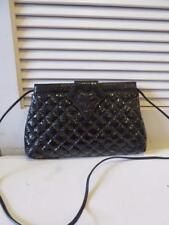 WOMENS LISETTE BLACK LEATHER QUILTED SHOULDER BAG W/MAGNETIC SNAP CLOSURE