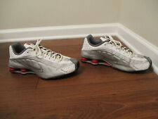 535fc396afe Used Worn Size 12 Nike Shox R4 Shoes Silver White Red Black 104265-126