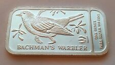 1 TROY OZ .999 FINE SILVER BACHMAN'S' WARBLER NATIONAL AUDUBON SOCIETY BAR