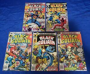 Black Goliath (1976) #1,2,3,4,5 Full Set 9p & 10p UK Price Variants Tuska VG/FN