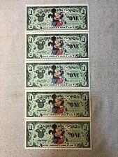 (5) 2000 Walt Disney Dollar Uncirculated $1 One Dollar Bill A Series Mickey Set