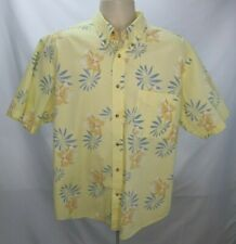 83aa713b Mens Natural Issue Hawaiian Shirt Sz L Yellow Short Sleeve Button Front  Floral