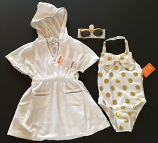 NWT Gymboree 2T Metallic Gold Polka Dot Swimsuit Terry Cover Up & Sunglasses