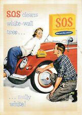 post card SOS S.O.S. 🚗⚙️ Car Auto Tire white Cleaners Vintage style advertising