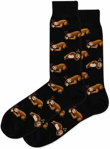 NEW Sloth Sleeping Black Mens Crew Socks Hot Sox