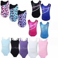 Girls Gymnastics Leotard Shiny Sleeveless Ballet Dance Bodysuit 2-14Y Coloful