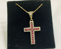 """Rubies ,sterling Silver Filigree Sterling Silver Cross  Pendant, Necklace 18"""""""