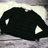 Brenda French for French Rags womens fringe long sleeve sweater size Large
