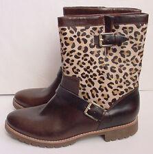 Women's Short Boots Brown/Leopard Sperry Top-Sider Britt Leather Sz 7.5 $198 NEW