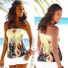 Boho Women Floral Bandeau Tube Tank Top Summer Strapless Vest Tee Blouse T-shirt