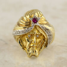 Mughal Ruby and Diamond Ring 14ct Yellow Gold Size U