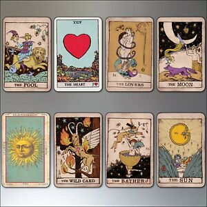 Vintage Tarot cards fridge magnets set of 8 retro thin decorative magnets No.2