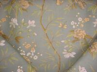 3-1/4Y GP & J Baker BP10392 Peony Blossom Aqua Printed Linen Upholstery Fabric