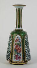 Bohemian Moser green glass white overlay gilded vase c1880