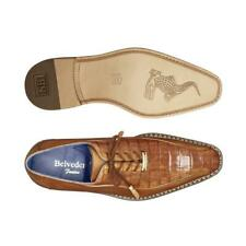 New Belvedere Exotic Dress Shoes Lace Up Genuine Crocodile Gabriele Ant Brandy