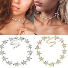 Women Fashion Star Pendant Choker Necklace Gold Silver Chain Rhinestone necklace