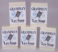 5-BARS of Grandmas Pure Natural Lye Soap Bar Unscented For Dry Skin