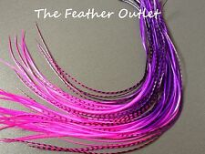 Lot 10 Grizzly Feather Hair Extensions long thin striped Real Tie Dye Ombre Pink