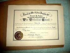 CERTIFICATE NEBRASKA KANSAS METHODIST CHURCH ONE OF THE MINISTERS 1949