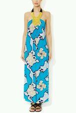 T-Bags Los Angeles Maxi Dress with Beaded Bib Yoke Jersey size medium blue multi