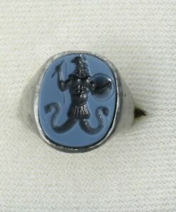 Solid Roman Style Two Layer Intaglio Signet Seal Ring