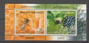 s36178 MONTENEGRO 2005 EUROPA CEPT MNH** BF GASTRONOMIA BEES GRAPES WINE