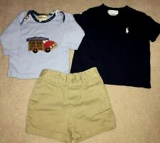 77cc54a17 Ralph Lauren Polo Baby Boy Shirt Top Shorts Outfit 3 piece set Summer EUC 3  6