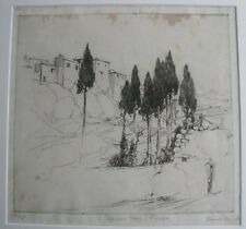 "HAROLD B HERBERT AUSTRALIAN FRAMED ETCHING ""CYPRESS TREES RONDA SPAIN"" 1924"