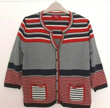 MONSOON Navy Red White Fitted Stretch College Style Stripe Cotton Cardigan 16