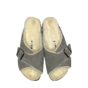 Birkenstock Arosa Shearling Sandal Suede Leather Stone Coin Gray, Size 7-7 1/2