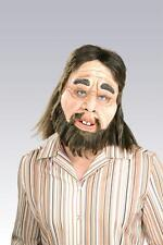 CAVEMAN FULL LATEX MASK WITH HAIR COSTUME DRESS RU68157
