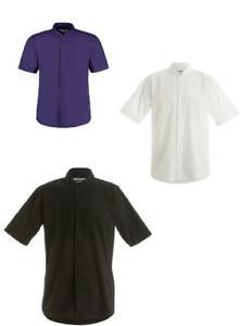 Kustom Kit Mens Mandarin Collar Short Sleeve Shirt Easy Iron KK160 CLEARENCE