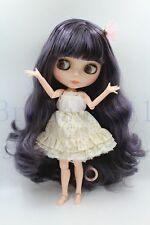 """New 12"""" Neo Blythe Doll from factory Nude Long Grey Purple hair + joint body"""