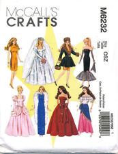 Mccall's Sewing Pattern 6232 Barbie Doll Clothes - Evening Party Wedding Dresses