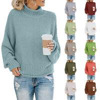 Women Sweater Autumn Winter Knitted Turtleneck Pullover Warm Jumper Top Knitwear