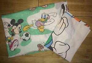 Vtg Mickey & Friends Twin Flat Sheet Pillowcase Bedding Sports Soccer Football