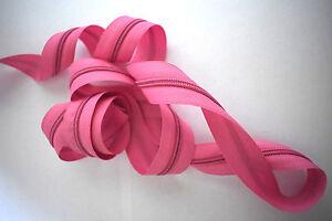 (1,00€/m) 1m Endlos Reißverschluss Meterware 5mm Spirale inkl.2 Zipper Rosa