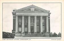 Shreveport Louisiana~First Methodist Church South~1940s Cars~B&W Linen Postcard