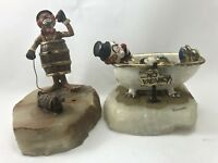 Set of 2 RON LEE HOBO CLOWN FIGURINES on Marble 24k Gold Accented SIGNED Vintage