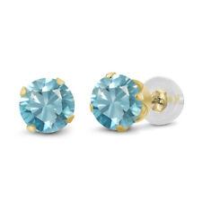1.00 Ct Round 4mm Blue Zircon 14K Yellow Gold Stud Earrings