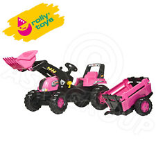 Rolly Toys - Girls Pink Junior Pedal Tractor, Front Loader & Slat Design Trailer