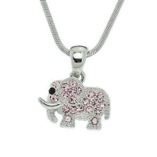 """ELEPHANT Made With Swarovski Crystal Pink Good Luck Pendant Necklace 18"""" Chain"""