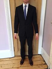 HOWICK HOUSE OF FRASER SUIT 38R 34W MENS NAVY PINSTRIPE