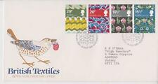 GB FDC 1982 BRITISH TEXTILES STAMP SET BUREAU PMK