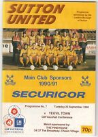 Sutton United v Yeovil Town 1990/1 (25 Sep) Vauxhall Conference