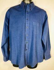 Shaver Lake Men's No Iron Size L Slate Blue Long Sleeve Button Up Dress Shirt