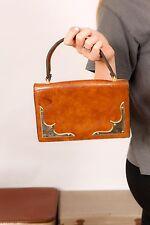 60s 70s vintage tan leather & brass carry satchel style handbag MOD